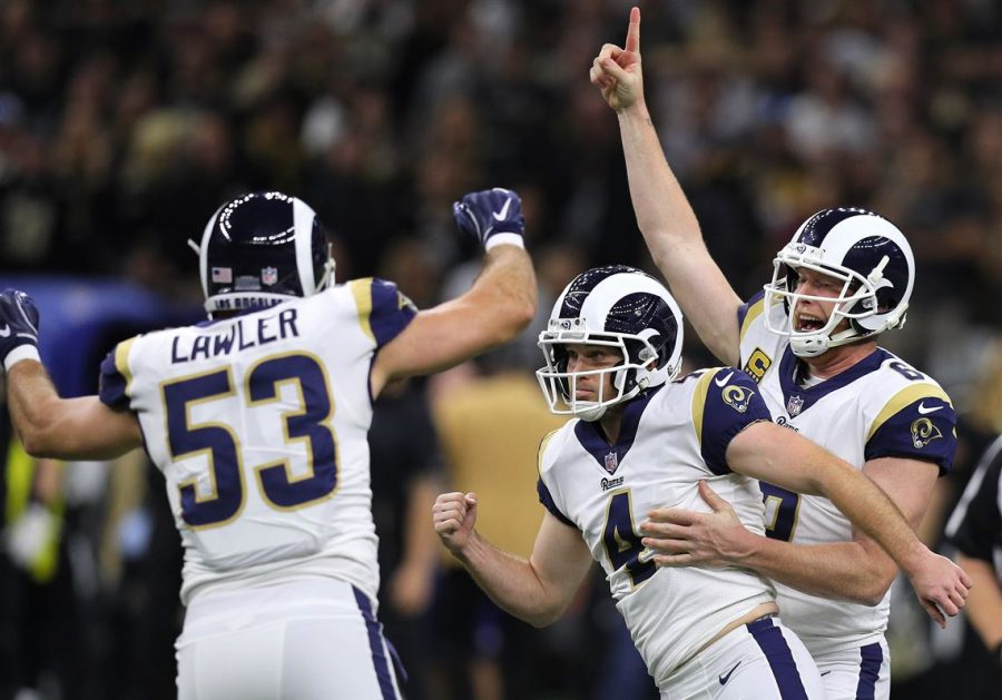Teammates+celebrate+with+kicker+Greg+Zuerlein+%28no.+4%29+following+the+overtime%2C+game-winning+boot+that+sent+the+Los+Angeles+Rams+to+Super+Bowl+LIII.+The+Rams+defeated+the+New+Orleans+Saints+at+the+Superdome+in+New+Orleans+Sunday%2C+Jan.+20.+Photo+credit%3A+Jonathan+Bachman%2C+Getty+Images.