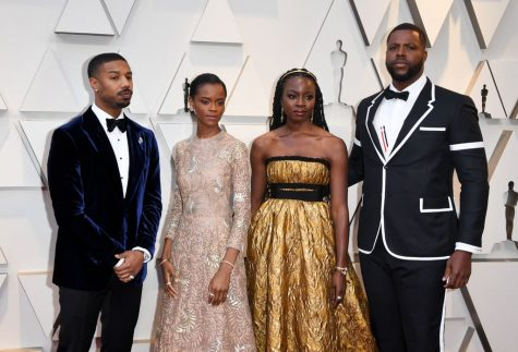 Black Panther Cast on the red carpet on the night of the Oscars.