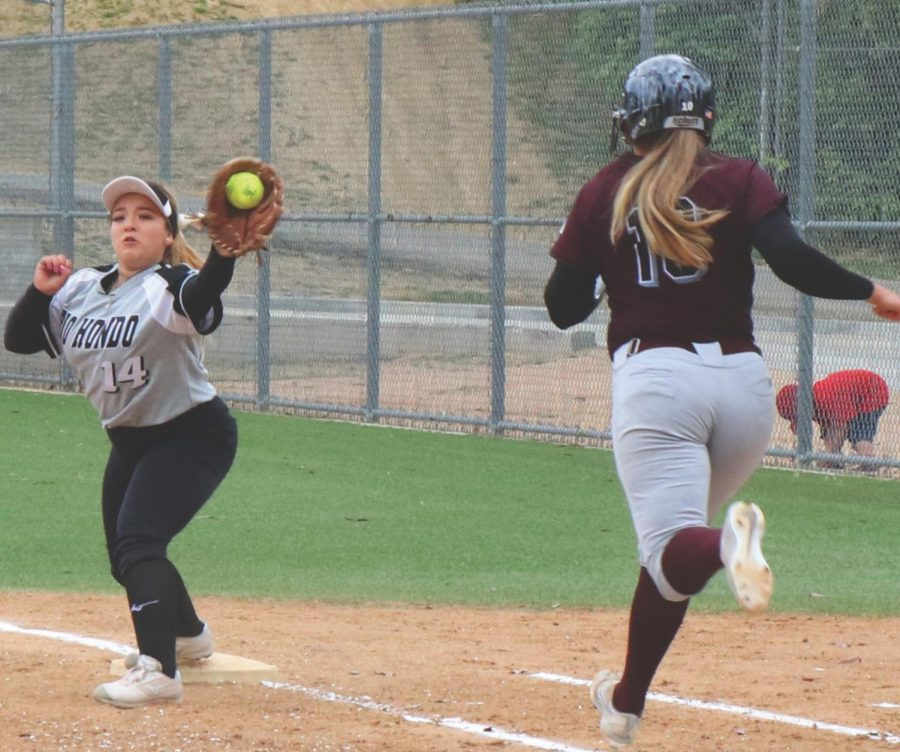 Rio Hondo's first basemen, freshman Azucena Enriquez, gets Mt. SAC's  Adriana Ramirez out at first following a fielding play by freshman pitcher Madeline Peralta. The Roadrunners lost to the Mounties 2-0 at Rio Hondo Tuesday, March 16.