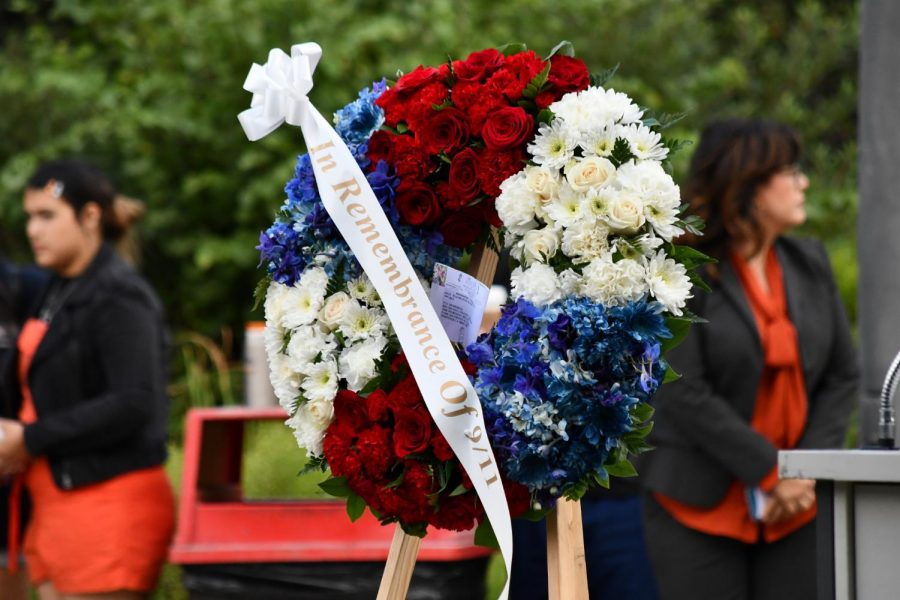 The+Veterans+Memorial+at+Rio+Hondo+College+included+a+flower+wreath+that+carried+a+message+of+%22In+Remembrance+of+9%2F11%22