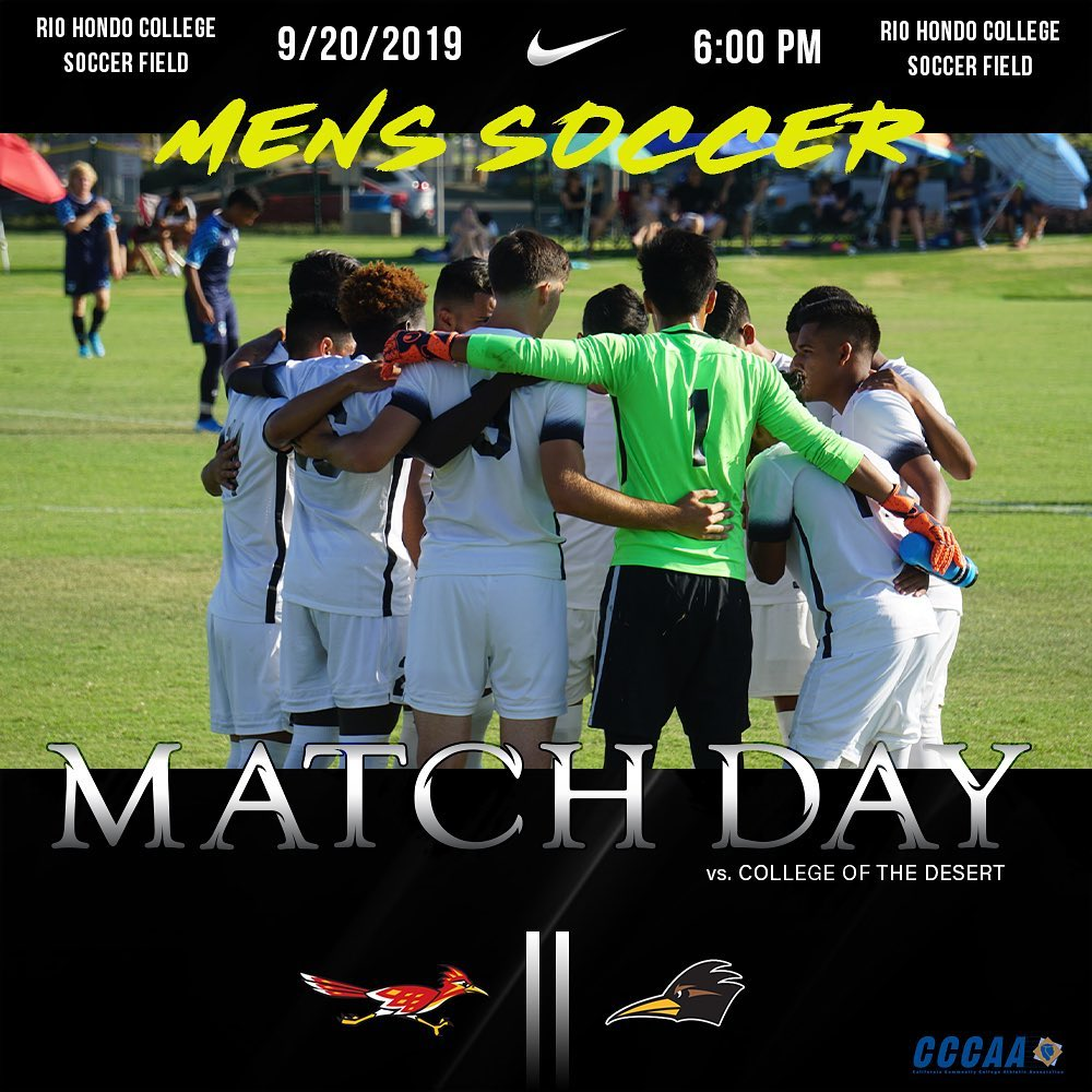 Rio Hondo College hosts College of the Desert Friday at 6 p.m. for a regional playoff rematch from last year. Photo credit: Rio men's soccer page.