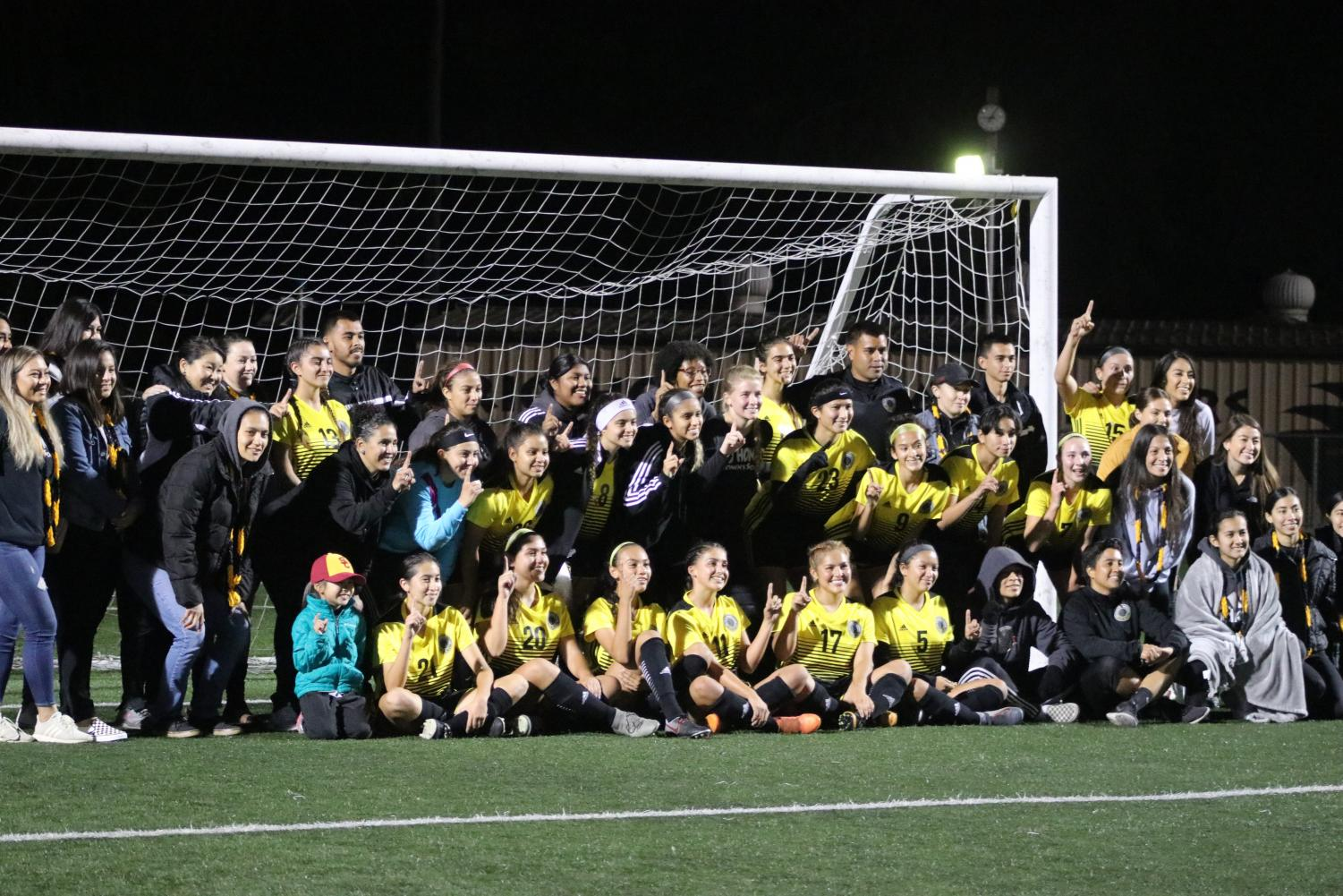 Rio Hondo women's soccer team celebrating their eighth conference victory. The Lady Roadrunners captured its fifth conference championship over the past six seasons. Rio Hondo destroyed Pasadena City 5-0 on Friday, November. 15.