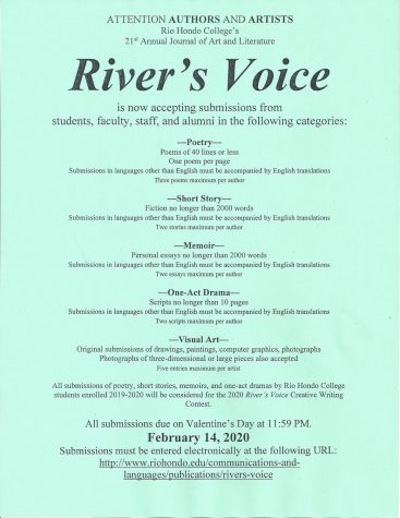 River's Voice is a journal of art and literature published at Rio Hondo College as a joint effort of the Communications and Languages Division, Arts and Cultural Programs Division, ASO, and ASRHC.