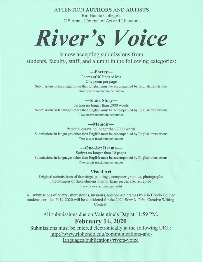 River%E2%80%99s+Voice+is+a+journal+of+art+and+literature+published+at+Rio+Hondo+College+as+a+joint+effort+of+the+Communications+and+Languages+Division%2C+Arts+and+Cultural+Programs+Division%2C+ASO%2C+and+ASRHC.+