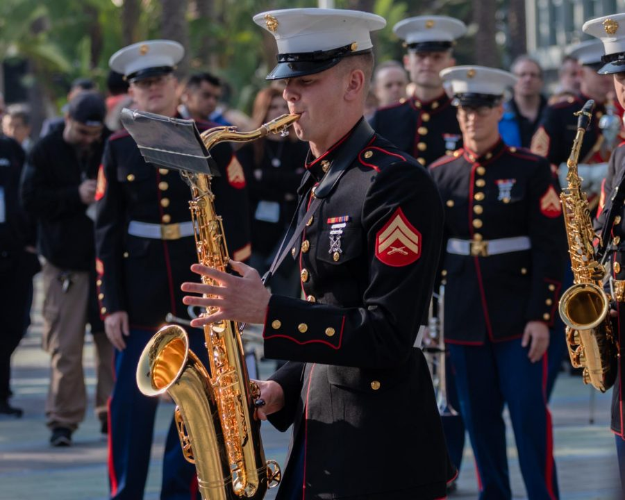 The U.S. Marine Corps Marching Band playing before the official opening of the doors to NAMM.
