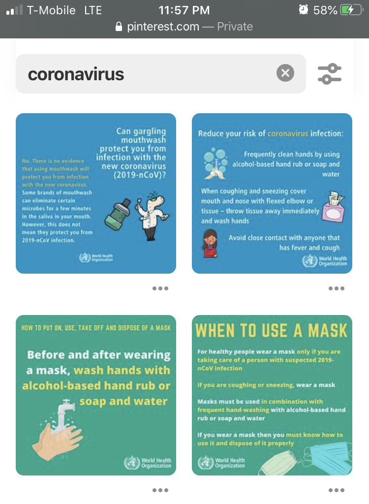 Four of the squares shown on Pinterest, offering accurate information on how to properly handle the Coronaviruse.