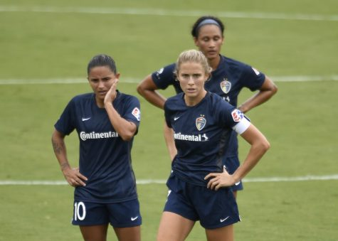North Carolina Courage Debinha Mari (L) and Captain Abby Dahlkemper (R) discussing a game plan. Defender Dahlkemper has 16 caps with NC Courage in 2019 and has 61 appearances with the U.S Women