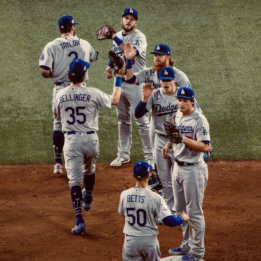 Los Angeles Dodgers in victory formation after huge game 5 win.