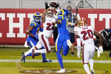 On 4th&goal, San Francisco cornerback Jason Verrett (22) intercepts a pass intended for Rams wide receiver Robert Woods (17). The 49ers defeated the Rams 24-16 and improved their record to 3-3.