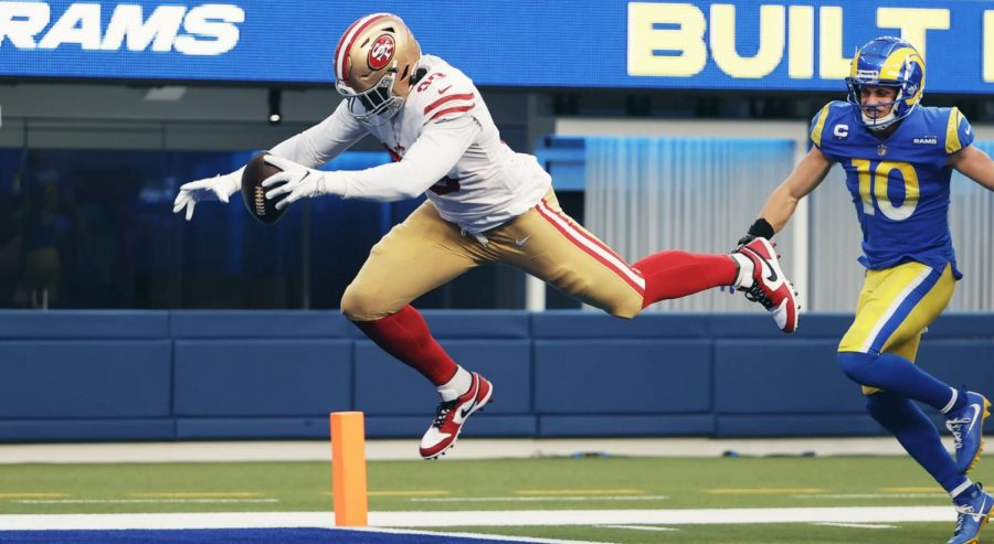 On 2nd&9, Rams quarterback Jared Goff threw a pick-six to San Francisco rookie defender Javon Kinlaw (99), who ran it 27 yards for a touchdown. The 49ers defense forced four Los Angeles turnovers, including two Jared Goff interceptions. L.A. lost the game 23-20, earning their first loss at home.