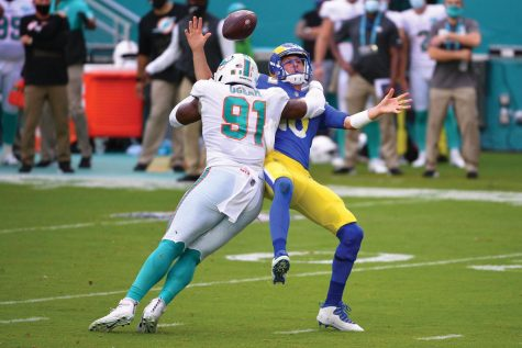 On 2nd&goal at the Miami nine yard line, Rams quarterback Jared Goff (16) is strip-sacked by the Dolphins