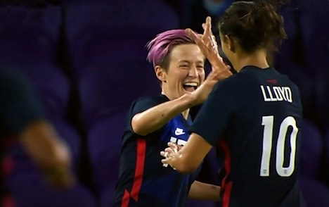 Megan Rapinoe is the lead scorer in the 2021 SheBelieves Cup. She is also the first player to score more than two goals in a SheBelieves Cup.