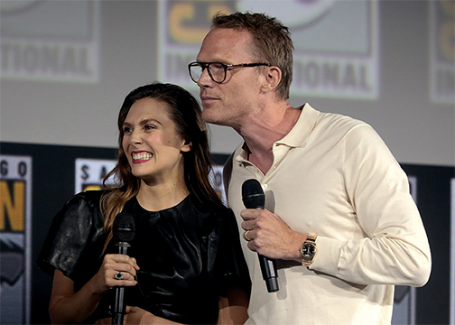 Elizabeth Olsen (left) and Paul Bettany (right) star in the all new Disney+ show Wandavision which takes place just two weeks after the events of Avengers Endgame.