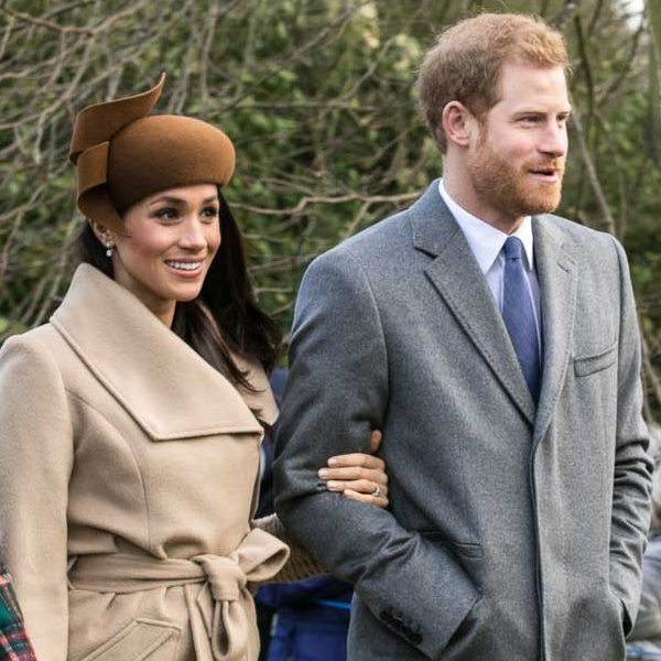 Meghan and Harry going to church on Christmas Day 2017.