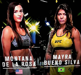Montana De La Rosa (L) has a MMA record of 11-6, while Mayra Bueno Silva (R) has an MMA record of 7-1.