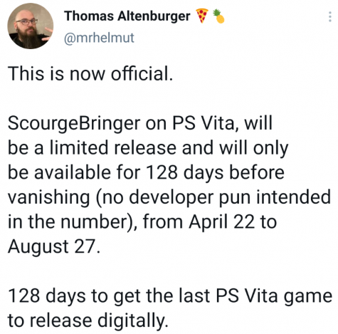 Games developers who had recently released games now have only a limited release, and will be some of the last games to release on Vita. The closure was done without the developers knowledge, meaning these limited releases were entirely unintended.