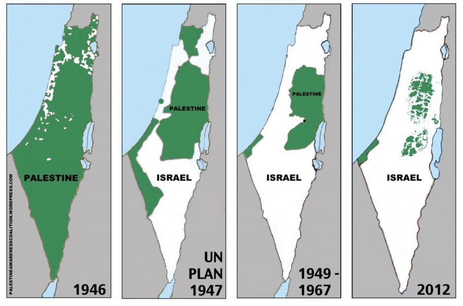 The loss of Palestinian land over the years. All surrounding Arab nations have gone to war with Israel in support of Palestine at least once.