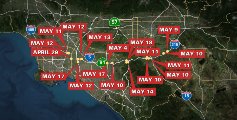 A map showing the shootings that have happened in the past couple weeks in Los Angeles.