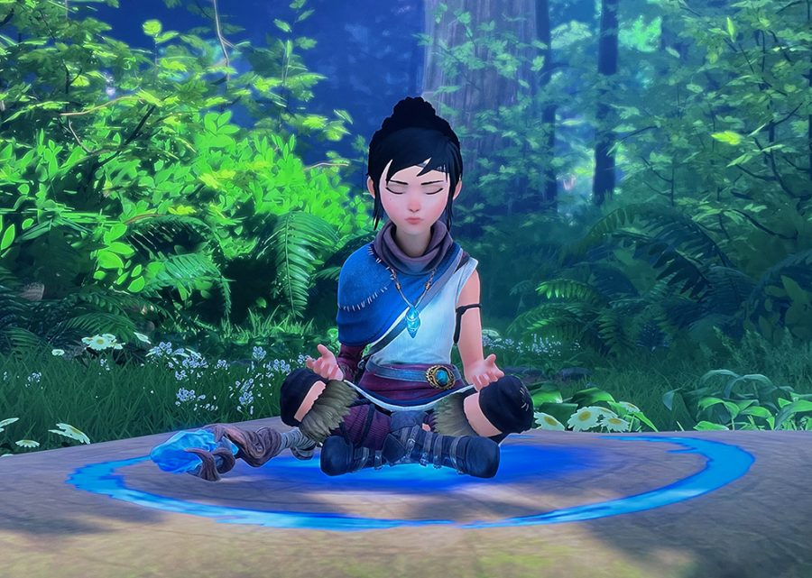Protagonist Kena must meditate in the forest to prepare for her next fight with evil spirits. Meditating is crucial to improving Kenas health.