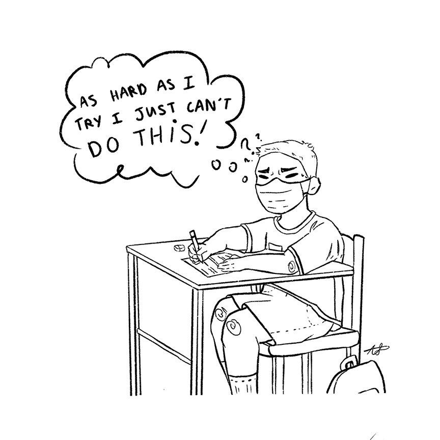 Drawing of a frustrated high school student trying to take a math test.